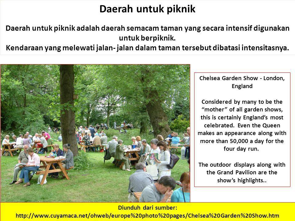 Daerah untuk piknik Daerah untuk piknik adalah daerah semacam taman yang secara intensif digunakan untuk berpiknik. Kendaraan yang melewati jalan- jal