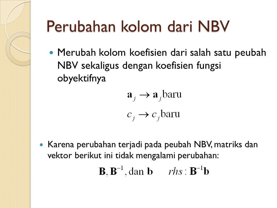 Perubahan kolom dari NBV Merubah kolom koefisien dari salah satu peubah NBV sekaligus dengan koefisien fungsi obyektifnya Karena perubahan terjadi pada peubah NBV, matriks dan vektor berikut ini tidak mengalami perubahan: