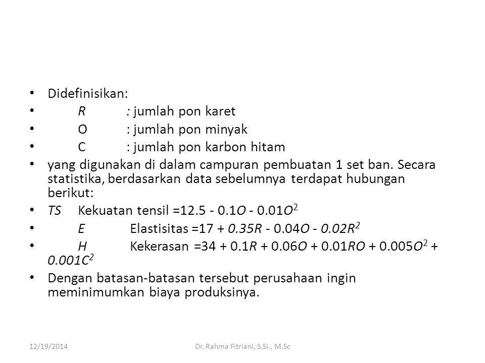 Didefinisikan: R : jumlah pon karet O: jumlah pon minyak C: jumlah pon karbon hitam yang digunakan di dalam campuran pembuatan 1 set ban. Secara stati