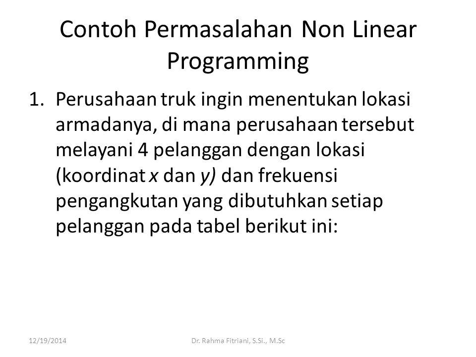 Contoh Permasalahan Non Linear Programming 1.Perusahaan truk ingin menentukan lokasi armadanya, di mana perusahaan tersebut melayani 4 pelanggan deng
