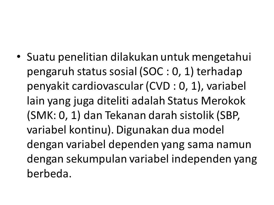 Suatu penelitian dilakukan untuk mengetahui pengaruh status sosial (SOC : 0, 1) terhadap penyakit cardiovascular (CVD : 0, 1), variabel lain yang juga