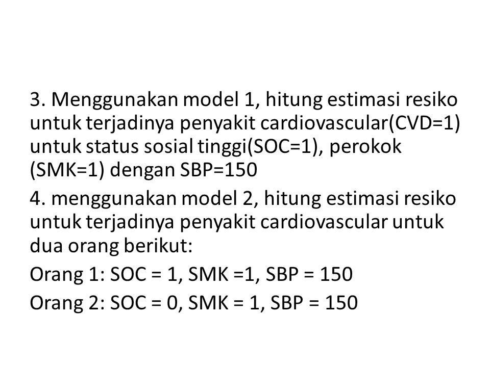3. Menggunakan model 1, hitung estimasi resiko untuk terjadinya penyakit cardiovascular(CVD=1) untuk status sosial tinggi(SOC=1), perokok (SMK=1) deng