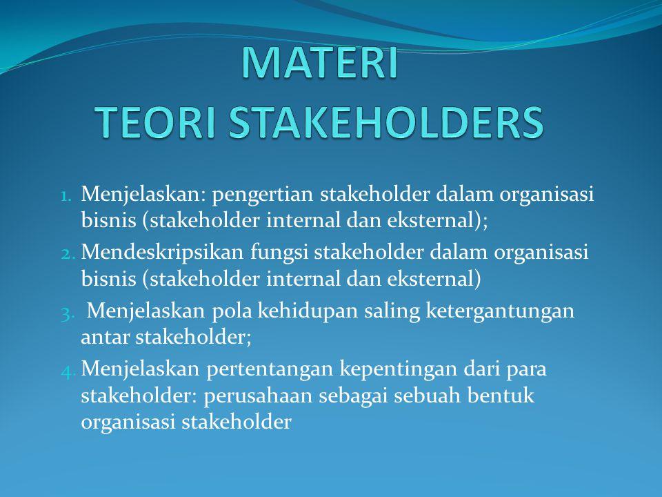 1. Menjelaskan: pengertian stakeholder dalam organisasi bisnis (stakeholder internal dan eksternal); 2. Mendeskripsikan fungsi stakeholder dalam organ