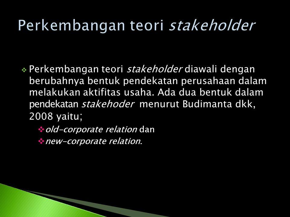  Perkembangan teori stakeholder diawali dengan berubahnya bentuk pendekatan perusahaan dalam melakukan aktifitas usaha. Ada dua bentuk dalam pendekat