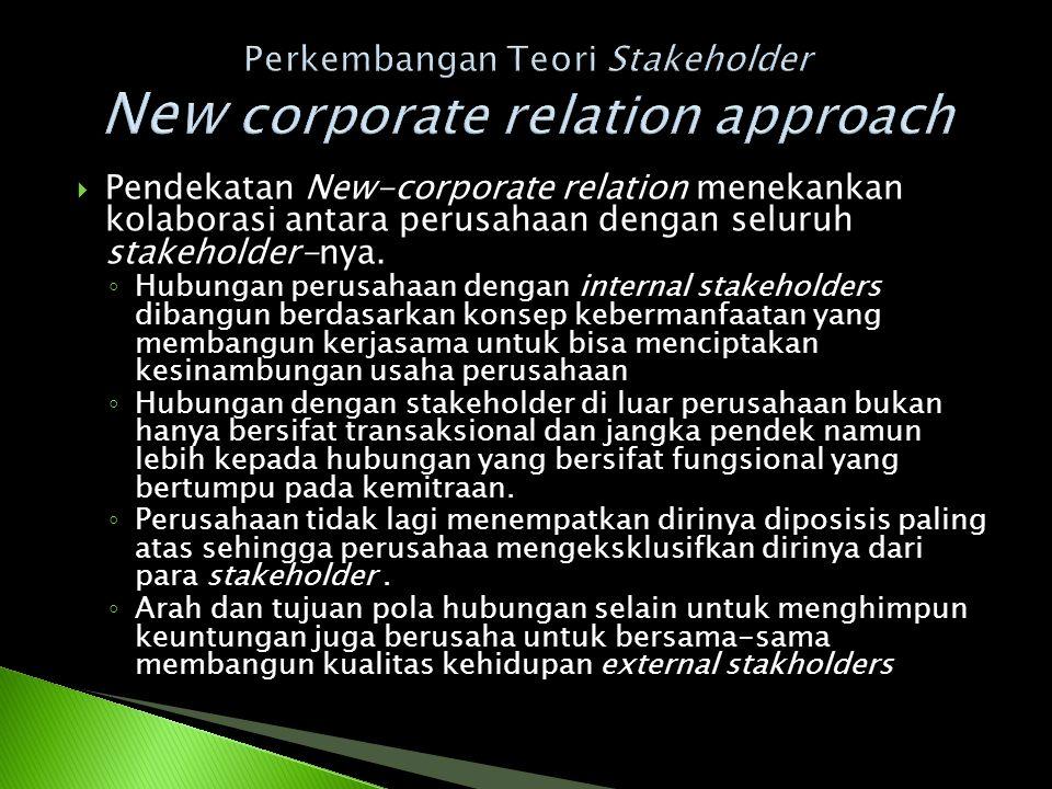  Pendekatan New-corporate relation menekankan kolaborasi antara perusahaan dengan seluruh stakeholder-nya. ◦ Hubungan perusahaan dengan internal stak