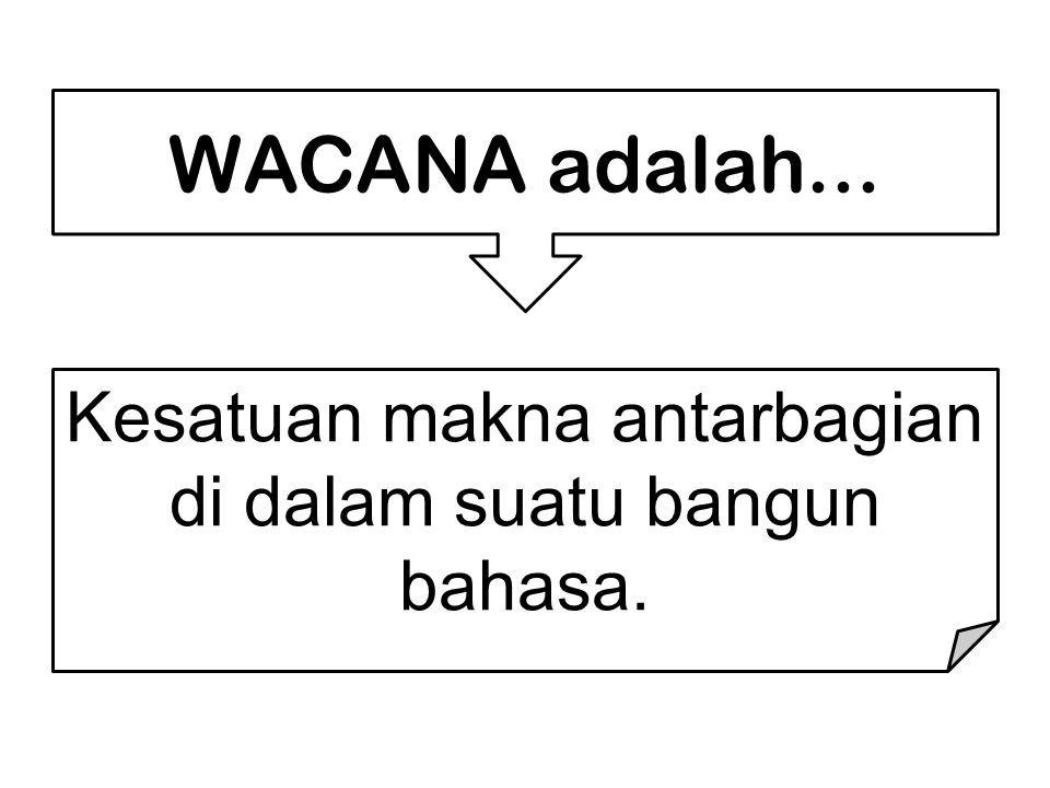 WACANA adalah... Kesatuan makna antarbagian di dalam suatu bangun bahasa.