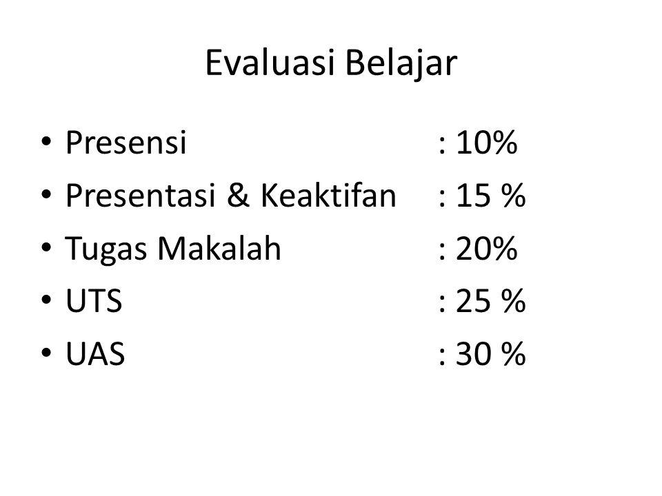 Evaluasi Belajar Presensi: 10% Presentasi & Keaktifan: 15 % Tugas Makalah : 20% UTS: 25 % UAS: 30 %
