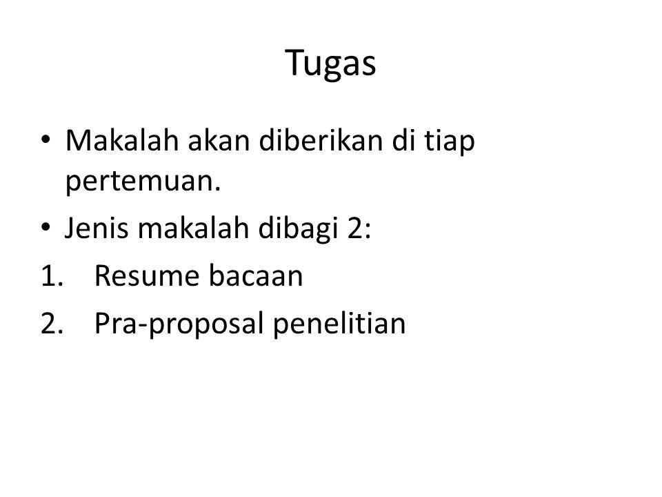Tugas Makalah akan diberikan di tiap pertemuan. Jenis makalah dibagi 2: 1.Resume bacaan 2.Pra-proposal penelitian
