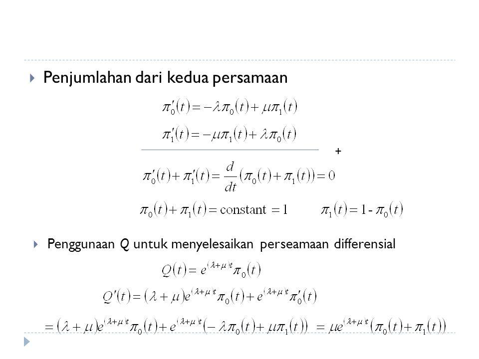  Penjumlahan dari kedua persamaan +  Penggunaan Q untuk menyelesaikan perseamaan differensial