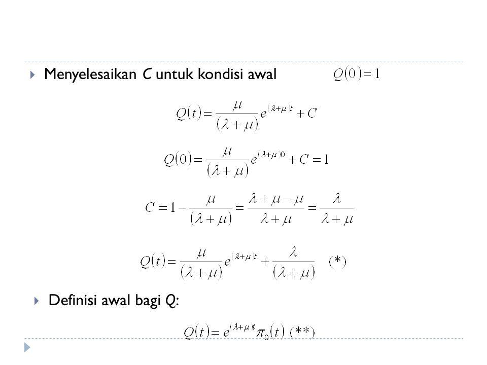  Menyelesaikan C untuk kondisi awal  Definisi awal bagi Q: