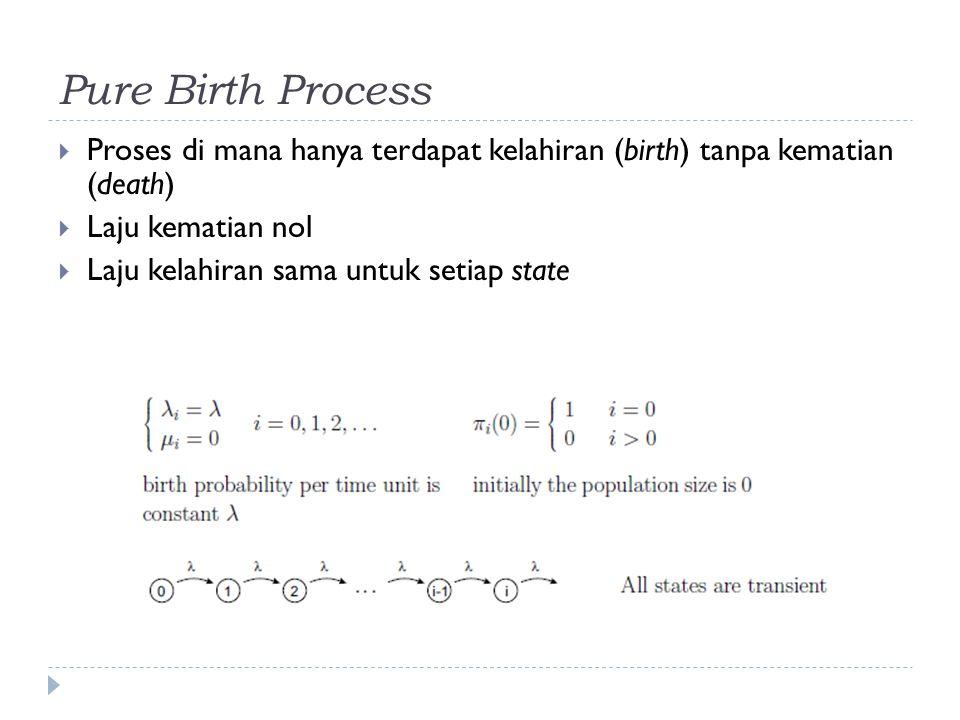 Pure Birth Process  Proses di mana hanya terdapat kelahiran (birth) tanpa kematian (death)  Laju kematian nol  Laju kelahiran sama untuk setiap sta