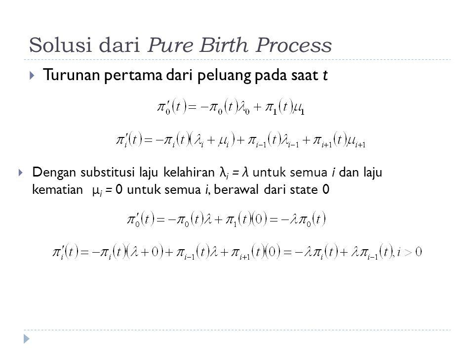 Solusi dari Pure Birth Process  Turunan pertama dari peluang pada saat t  Dengan substitusi laju kelahiran λ i = λ untuk semua i dan laju kematian μ