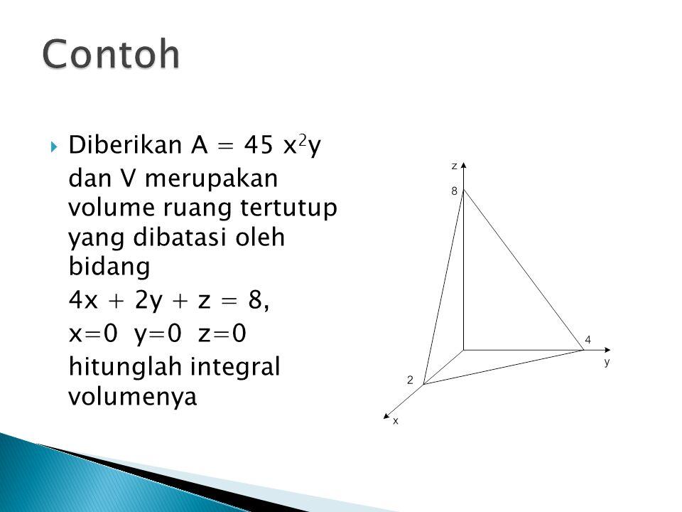  Diberikan A = 45 x 2 y dan V merupakan volume ruang tertutup yang dibatasi oleh bidang 4x + 2y + z = 8, x=0 y=0 z=0 hitunglah integral volumenya