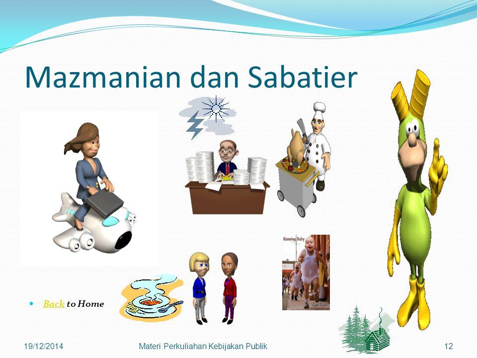 Mazmanian dan Sabatier Back to Home Back 19/12/2014Materi Perkuliahan Kebijakan Publik12