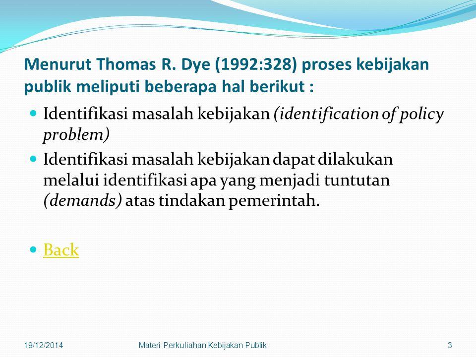 19/12/2014Materi Perkuliahan Kebijakan Publik34