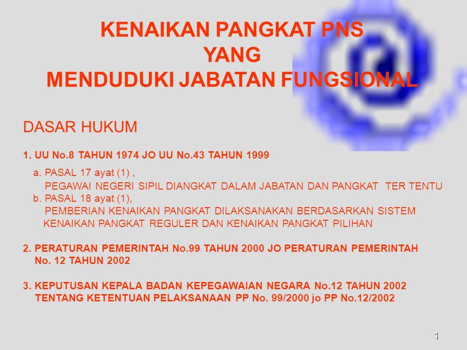 1 KENAIKAN PANGKAT PNS YANG MENDUDUKI JABATAN FUNGSIONAL DASAR HUKUM 1.