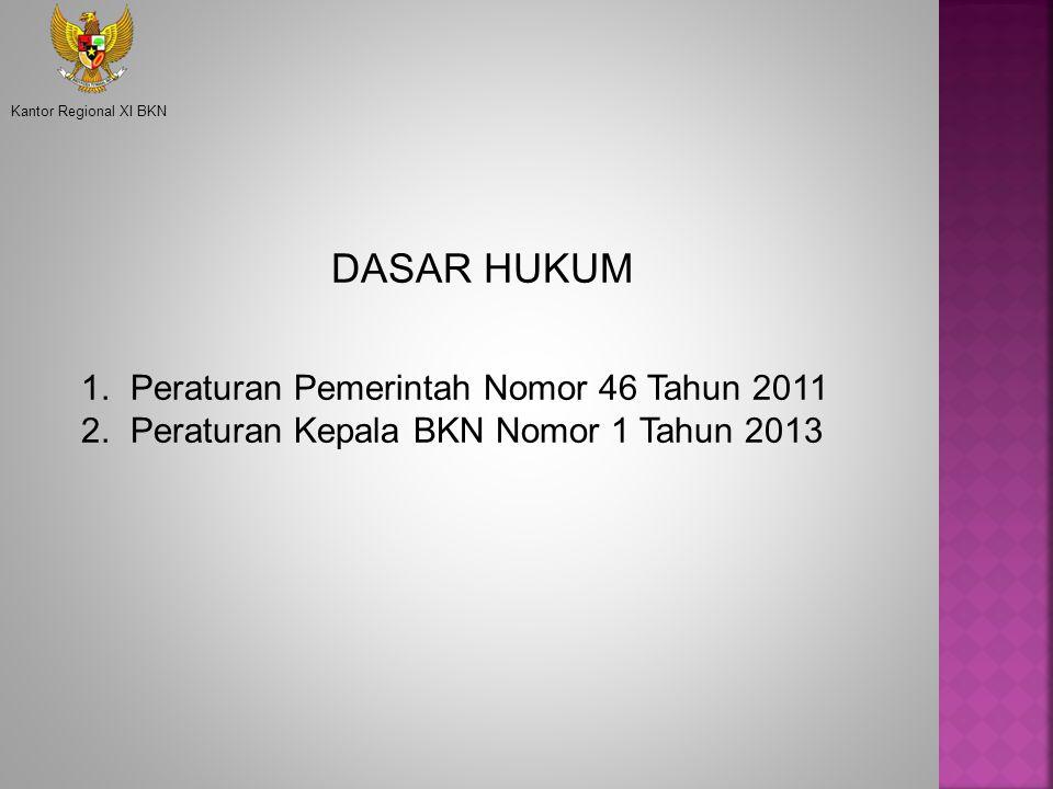 DASAR HUKUM 1. Peraturan Pemerintah Nomor 46 Tahun 2011 2. Peraturan Kepala BKN Nomor 1 Tahun 2013 Kantor Regional XI BKN