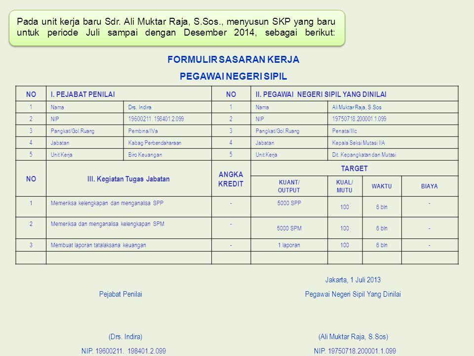 Pada unit kerja baru Sdr. Ali Muktar Raja, S.Sos., menyusun SKP yang baru untuk periode Juli sampai dengan Desember 2014, sebagai berikut: FORMULIR SA