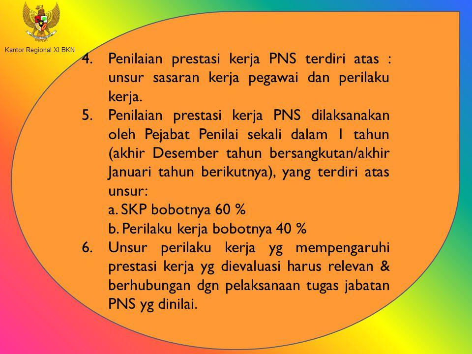 4.Penilaian prestasi kerja PNS terdiri atas : unsur sasaran kerja pegawai dan perilaku kerja. 5.Penilaian prestasi kerja PNS dilaksanakan oleh Pejabat