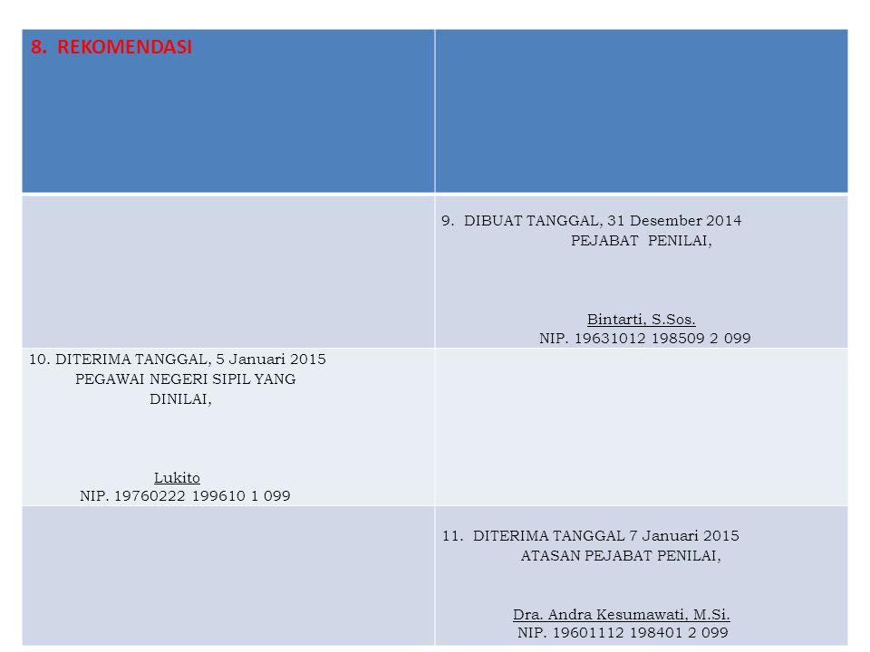 8. REKOMENDASI 9. DIBUAT TANGGAL, 31 Desember 2014 PEJABAT PENILAI, Bintarti, S.Sos. NIP. 19631012 198509 2 099 10. DITERIMA TANGGAL, 5 Januari 2015 P