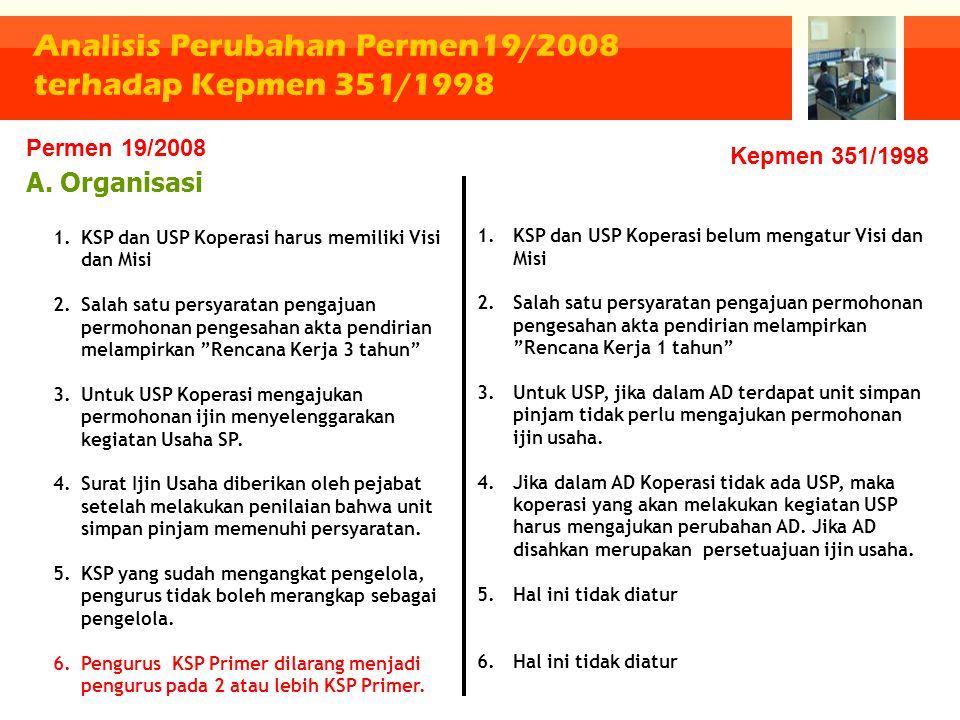 Analisis Perubahan Permen19/2008 terhadap Kepmen 351/1998 A. Organisasi 1.KSP dan USP Koperasi harus memiliki Visi dan Misi 2.Salah satu persyaratan p