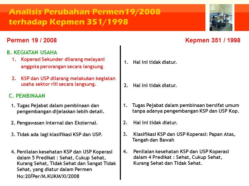 Analisis Perubahan Permen19/2008 terhadap Kepmen 351/1998 1.Koperasi Sekunder dilarang melayani anggota perorangan secara langsung. 2.KSP dan USP dila