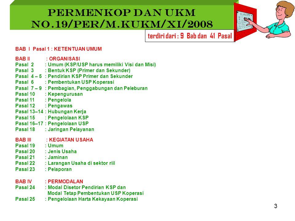 3 PERMENKOP DAN UKM No.19/Per/M.KUKM/XI/2008 terdiri dari : 9 Bab dan 41 Pasal BAB I Pasal 1 : KETENTUAN UMUM BAB II : ORGANISASI Pasal 2 : Umum (KSP/