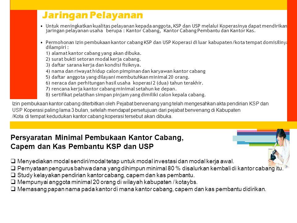 Untuk meningkatkan kualitas pelayanan kepada anggota, KSP dan USP melalui Koperasinya dapat mendirikan jaringan pelayanan usaha berupa : Kantor Cabang