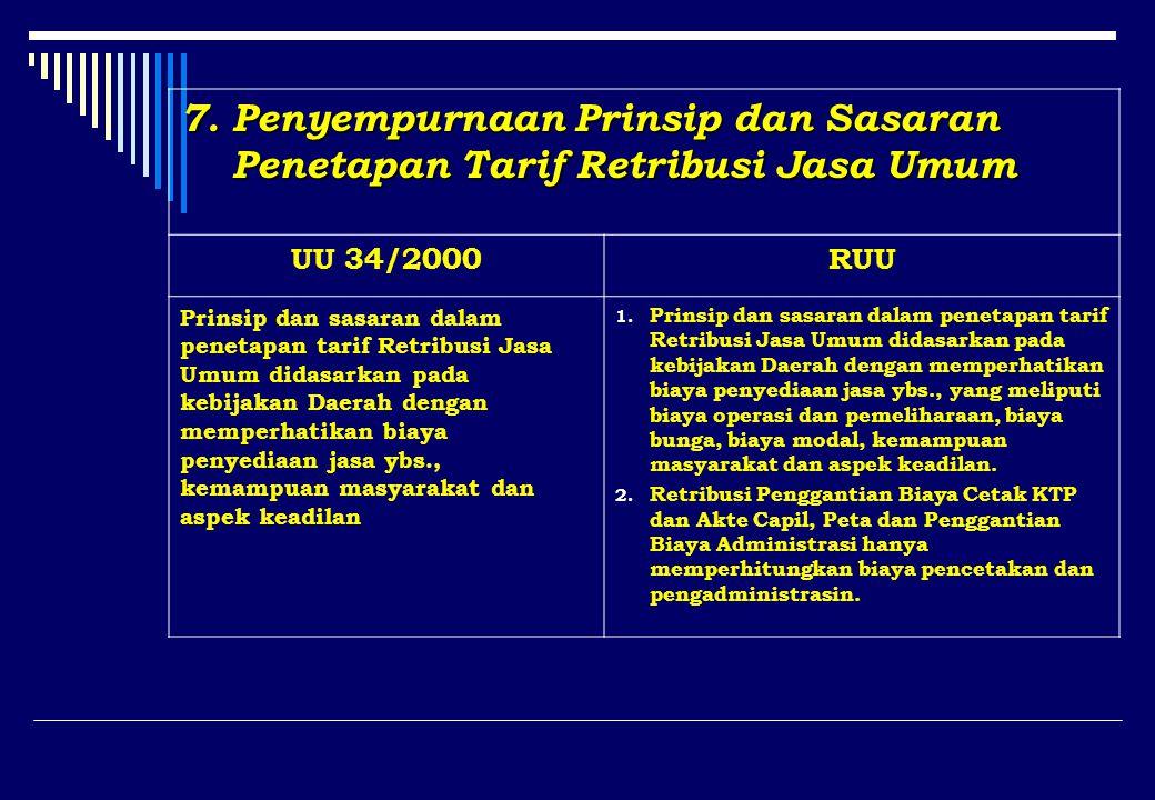 7. Penyempurnaan Prinsip dan Sasaran Penetapan Tarif Retribusi Jasa Umum Penetapan Tarif Retribusi Jasa Umum UU 34/2000RUU Prinsip dan sasaran dalam p