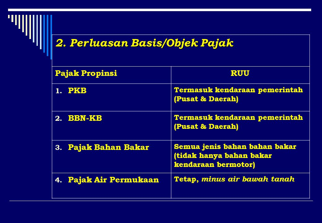2. Perluasan Basis/Objek Pajak Pajak PropinsiRUU 1.