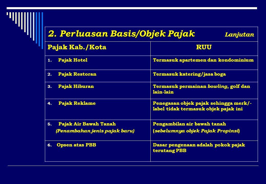 2. Perluasan Basis/Objek Pajak 2. Perluasan Basis/Objek Pajak Lanjutan Pajak Kab./KotaRUU 1.