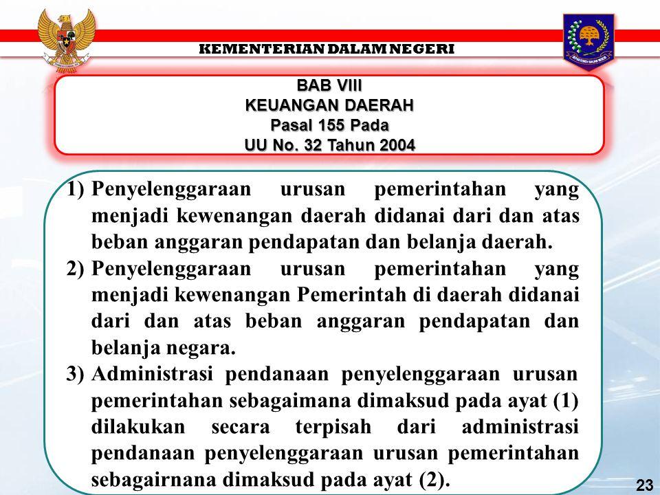 BAB VIII KEUANGAN DAERAH Pasal 155 Pada UU No.