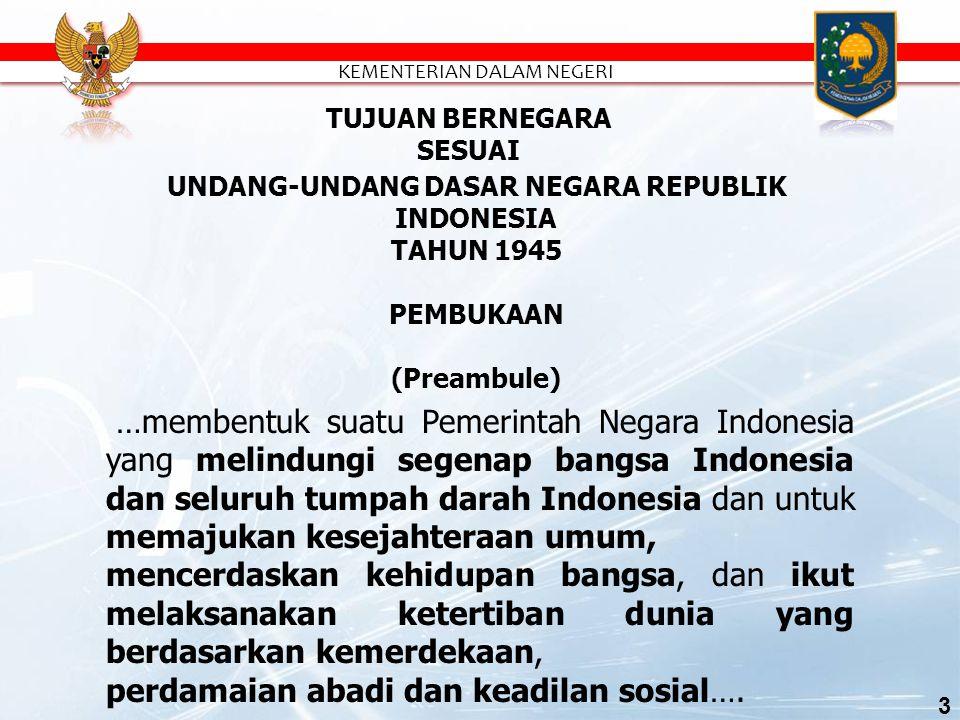 …membentuk suatu Pemerintah Negara Indonesia yang melindungi segenap bangsa Indonesia dan seluruh tumpah darah Indonesia dan untuk memajukan kesejahteraan umum, mencerdaskan kehidupan bangsa, dan ikut melaksanakan ketertiban dunia yang berdasarkan kemerdekaan, perdamaian abadi dan keadilan sosial….
