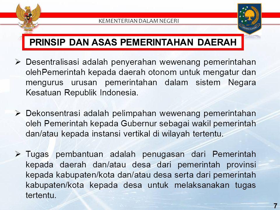 7  Desentralisasi adalah penyerahan wewenang pemerintahan olehPemerintah kepada daerah otonom untuk mengatur dan mengurus urusan pemerintahan dalam sistem Negara Kesatuan Republik Indonesia.
