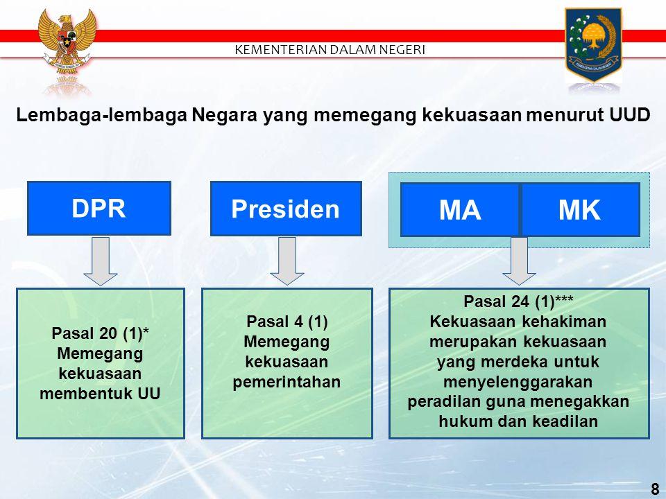 Pasal 24 (1)*** Kekuasaan kehakiman merupakan kekuasaan yang merdeka untuk menyelenggarakan peradilan guna menegakkan hukum dan keadilan MA MK Pasal 4 (1) Memegang kekuasaan pemerintahan Presiden Lembaga-lembaga Negara yang memegang kekuasaan menurut UUD Pasal 20 (1)* Memegang kekuasaan membentuk UU DPR 8