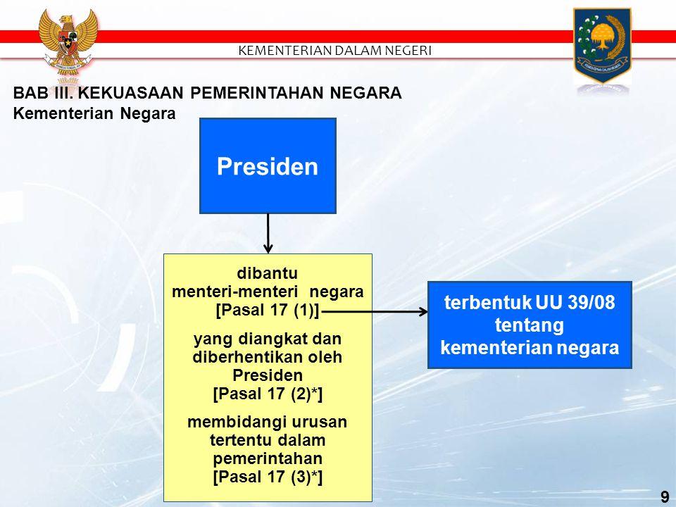 Presiden dibantu menteri-menteri negara [Pasal 17 (1)] yang diangkat dan diberhentikan oleh Presiden [Pasal 17 (2)*] membidangi urusan tertentu dalam pemerintahan [Pasal 17 (3)*] BAB III.