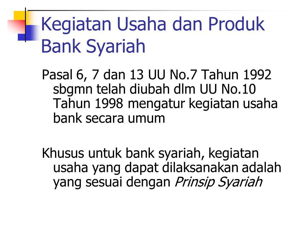 Kegiatan Usaha dan Produk Bank Syariah Pasal 6, 7 dan 13 UU No.7 Tahun 1992 sbgmn telah diubah dlm UU No.10 Tahun 1998 mengatur kegiatan usaha bank se