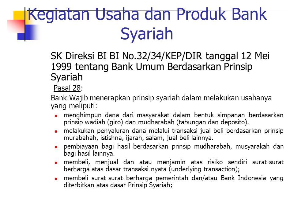 Kegiatan Usaha dan Produk Bank Syariah SK Direksi BI BI No.32/34/KEP/DIR tanggal 12 Mei 1999 tentang Bank Umum Berdasarkan Prinsip Syariah Pasal 28: B