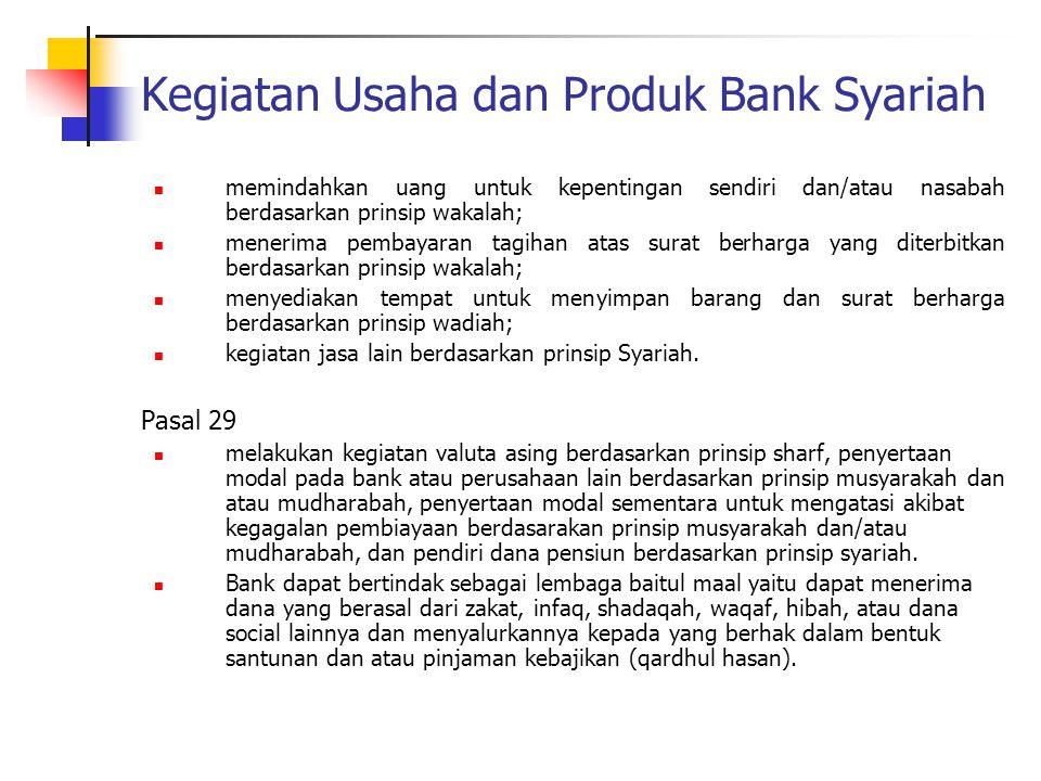 Kegiatan Usaha dan Produk Bank Syariah memindahkan uang untuk kepentingan sendiri dan/atau nasabah berdasarkan prinsip wakalah; menerima pembayaran ta
