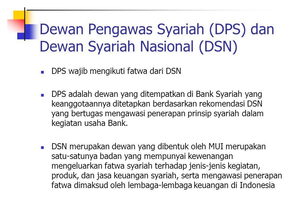 Dewan Pengawas Syariah (DPS) dan Dewan Syariah Nasional (DSN) DPS wajib mengikuti fatwa dari DSN DPS adalah dewan yang ditempatkan di Bank Syariah yan
