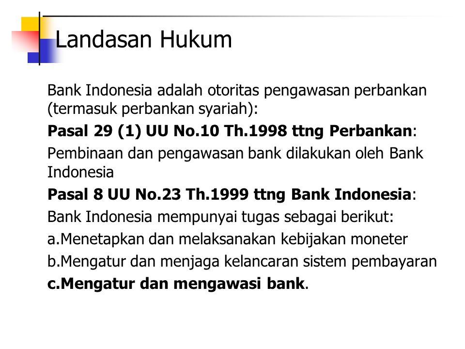Landasan Hukum Bank Indonesia adalah otoritas pengawasan perbankan (termasuk perbankan syariah): Pasal 29 (1) UU No.10 Th.1998 ttng Perbankan: Pembina
