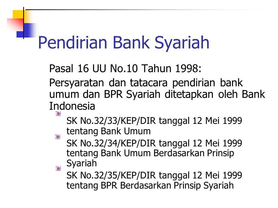 Pendirian Bank Syariah Pasal 16 UU No.10 Tahun 1998: Persyaratan dan tatacara pendirian bank umum dan BPR Syariah ditetapkan oleh Bank Indonesia SK No