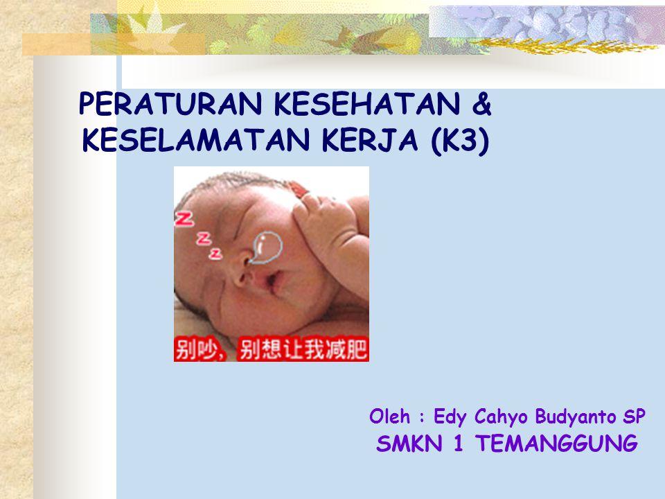 PERATURAN KESEHATAN & KESELAMATAN KERJA (K3) Oleh : Edy Cahyo Budyanto SP SMKN 1 TEMANGGUNG
