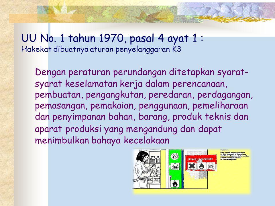 UU No. 1 tahun 1970, pasal 4 ayat 1 : Hakekat dibuatnya aturan penyelanggaran K3 Dengan peraturan perundangan ditetapkan syarat- syarat keselamatan ke