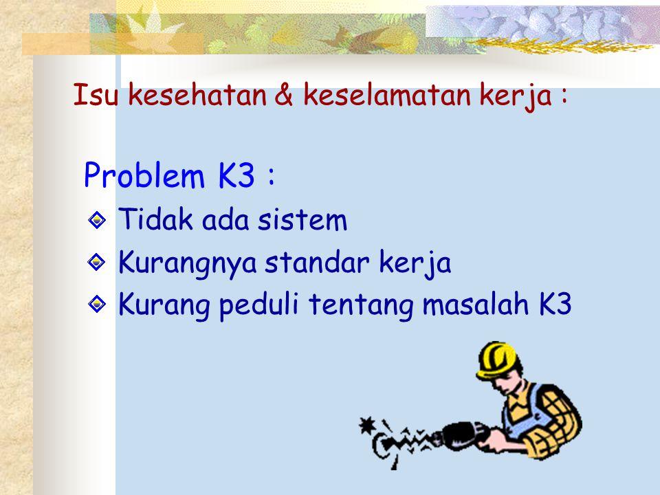 Isu kesehatan & keselamatan kerja : Problem K3 : Tidak ada sistem Kurangnya standar kerja Kurang peduli tentang masalah K3