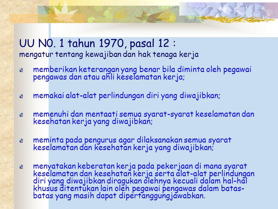 UU N0. 1 tahun 1970, pasal 12 : mengatur tentang kewajiban dan hak tenaga kerja memberikan keterangan yang benar bila diminta oleh pegawai pengawas da