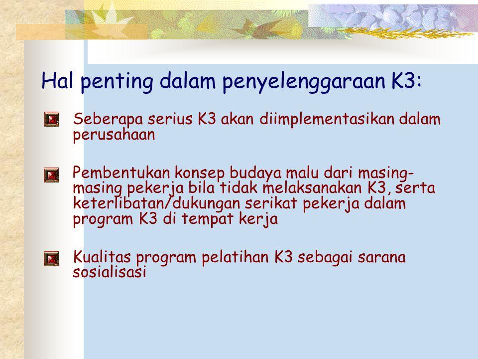 Hal penting dalam penyelenggaraan K3: Seberapa serius K3 akan diimplementasikan dalam perusahaan Pembentukan konsep budaya malu dari masing- masing pe