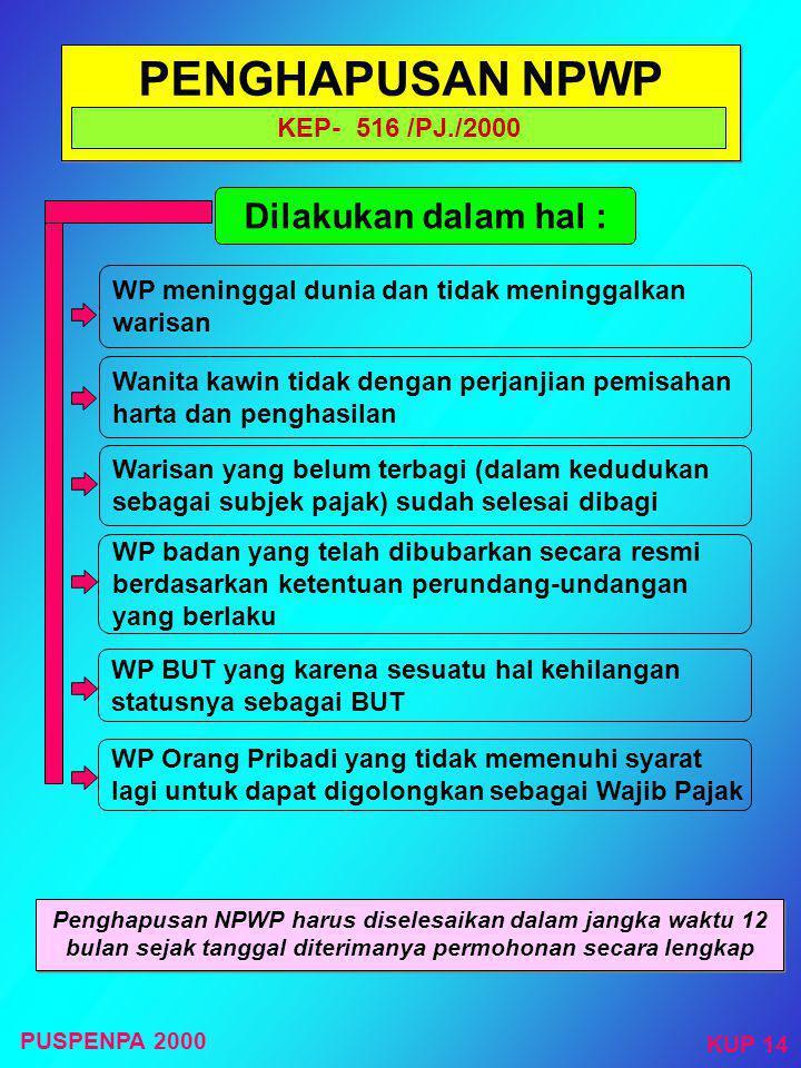 WAJIB PAJAK PINDAH ALAMAT Kep- 516 /PJ/2000 Permohonan WP dengan Surat Pernyataan Pindah Menerbitkan SURAT PINDAH kepada Wajib Pajak KPP baru menerbit