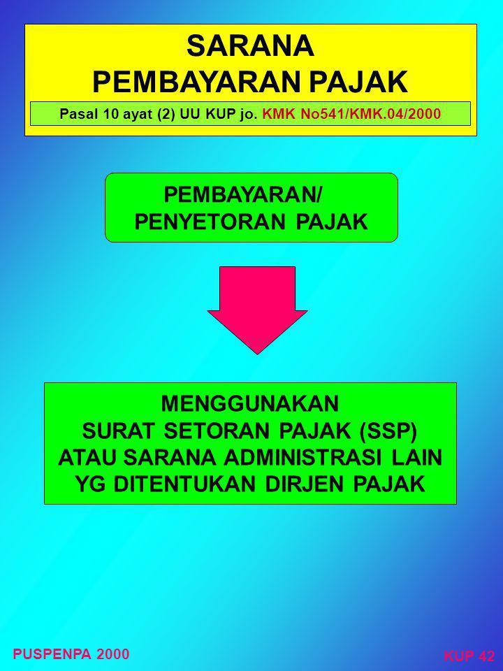 TEMPAT PEMBAYARAN/ PENYETORAN PAJAK Pasal 10 ayat (1) UU KUP jo. KMK No.541/KMK.04/2000 TEMPAT PEMBAYARAN/PENYETORAN BANK BUMN/D ATAU BANK-BANK LAIN Y