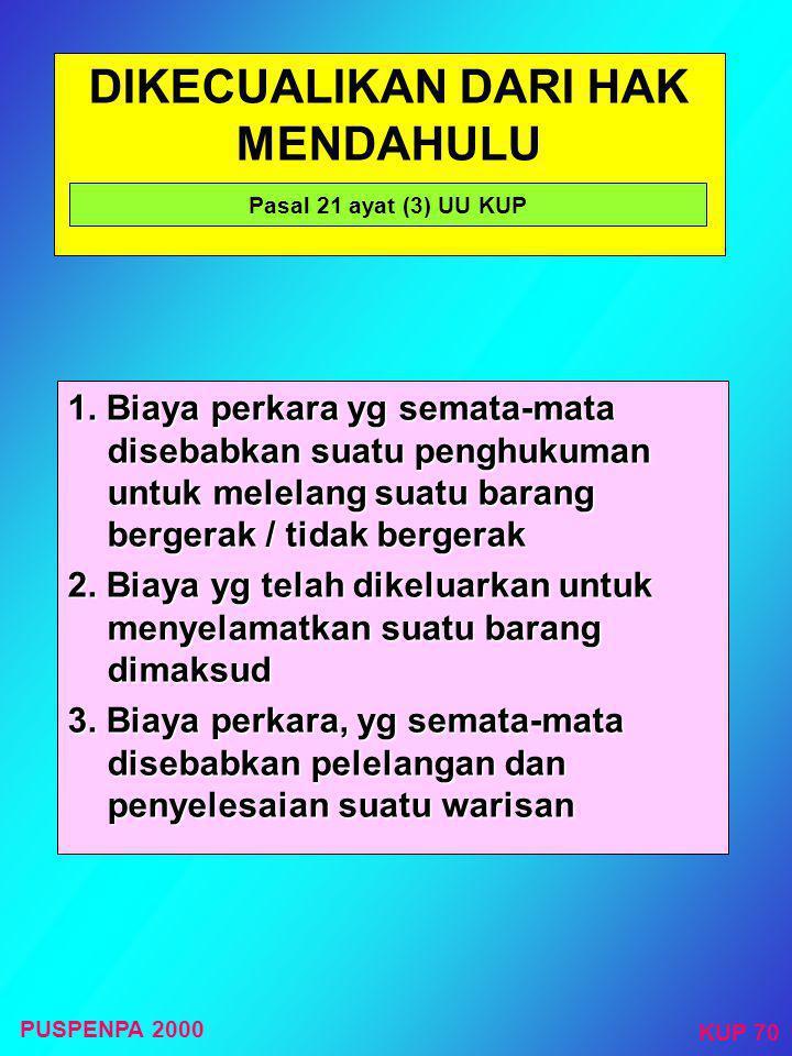 Negara mempunyai Hak Mendahulu untuk Tagihan Pajak Barang- barang milik Penanggung Pajak HAK MENDAHULU Pasal 21 ayat (1) dan ayat (2) UU KUP Meliputi